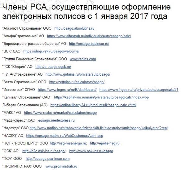 Перечень членов РСА, осуществляющих оформление электронных полисов